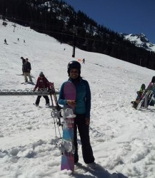 Snowboarding in May at Alpental near Seattle